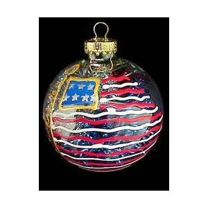 America's Flag Design Hand-Painted Heavy Glass Ornament