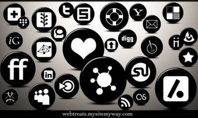 3D Glossy Black Button Social Icons