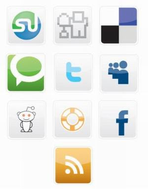 20 Free Vectors Social Bookmarking Icons