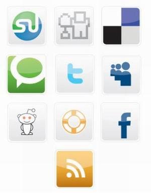 20 Free Vectors Social Bookmarking Icons