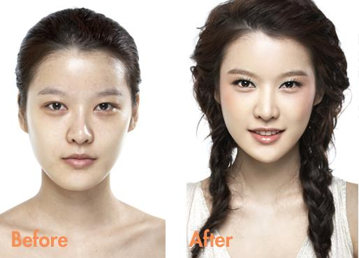 korean makeup before and after a dress girl