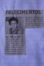 NOTA DE FALECIMENTO E MISSA DE SÉTIMO DIA DE LUCY ENYD