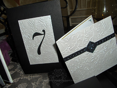 black and silver invitation and menu