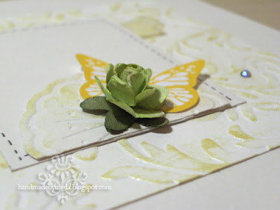 green rose on yellow valentine