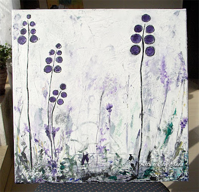fields of joy acrylic painting with purple flowers