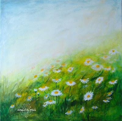 daisy field acrylic painting