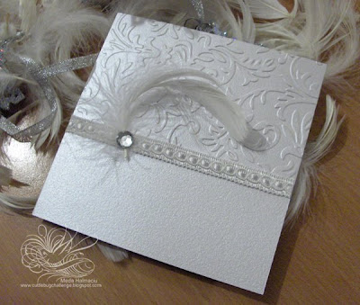 white feathers Christmas dinner invitation