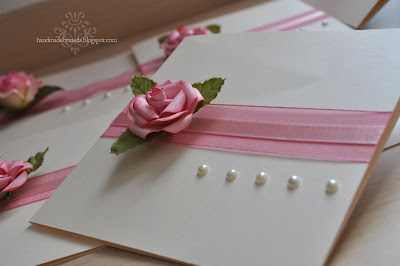 romantic invitation with handmade rose
