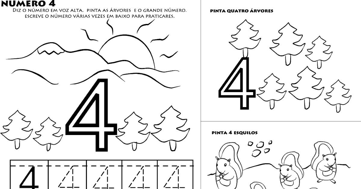 numero 4 para colorir aprender a escrever numeros desenhos para