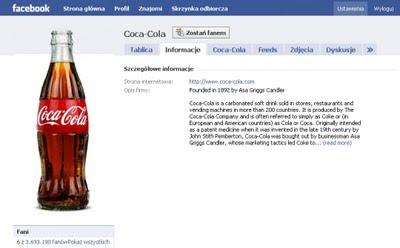 profil marki Coca-Cola w serwisie Facebook