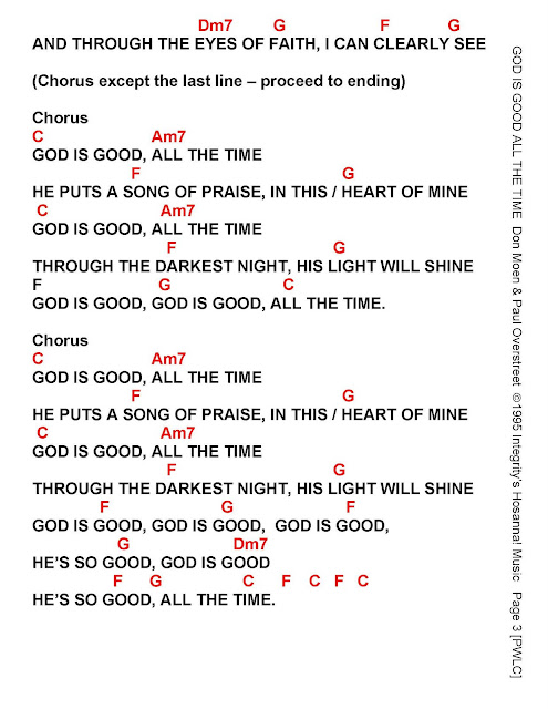 God Is Good All The Time Lyrics And Chords Sing And Praise