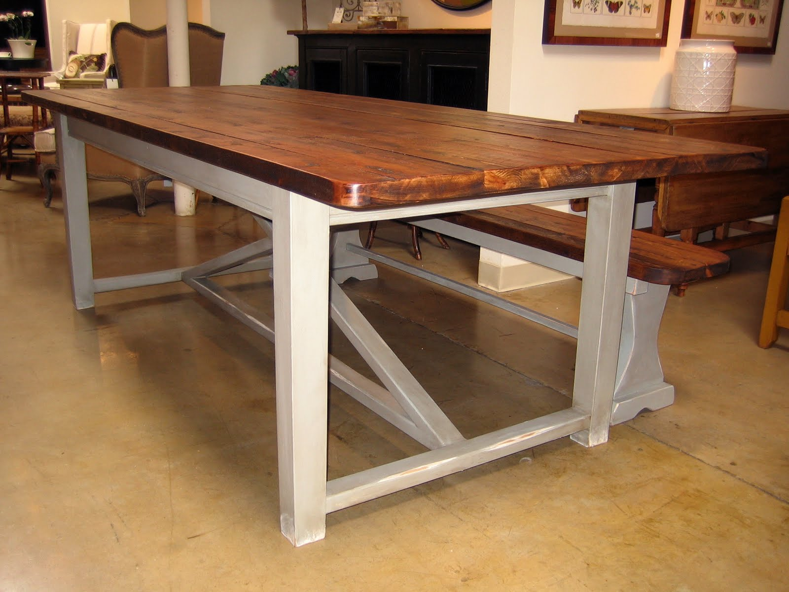 New Trestle Table And Benches Farmhouse Company