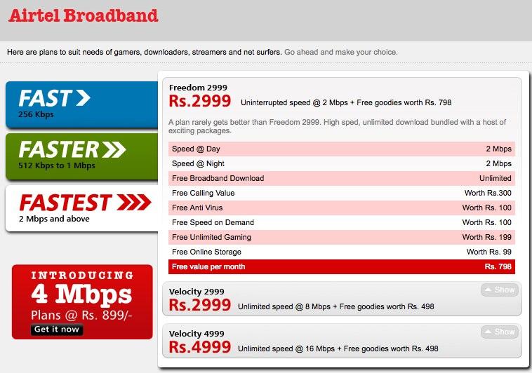Unlimited Internet Home Plans Airtel Broadband