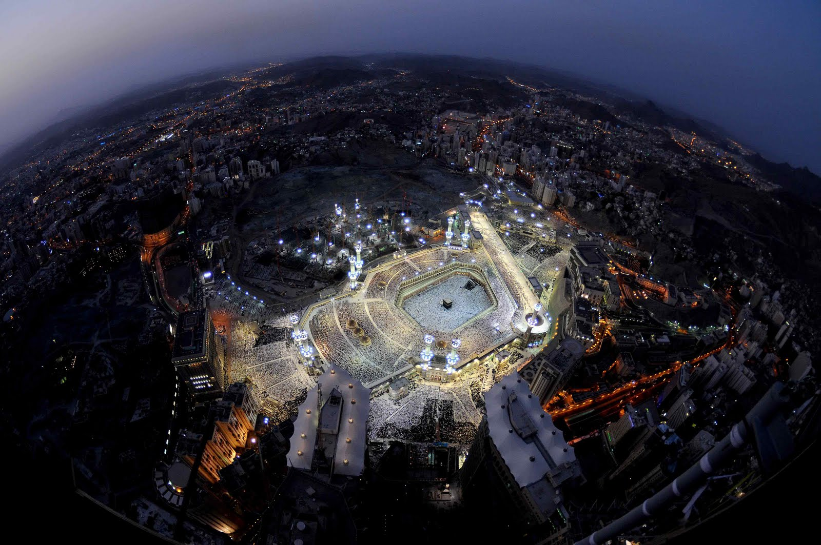 Beautiful satellite image of Holy Kaaba, Makkah