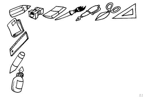 Dibujo de utiles escolares para colorear - Imagui