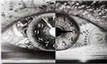 imagem de um olho com um relógio ao centro, representando um rápido movimento de olhar