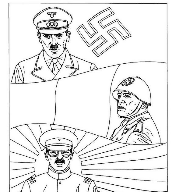 daily hitler  axis powers coloring page