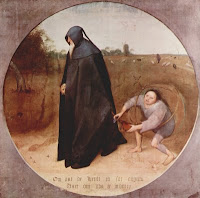 Pierre Bruegel's darkclad Misanthrope ignoring pleas of farmer