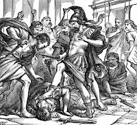 Roman army stabbing and slaying a man
