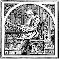 Bearded monk writing at medieval desk