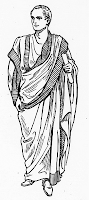 Drawing of a Roman toga