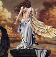 Half-naked Angel shedding off her second wing