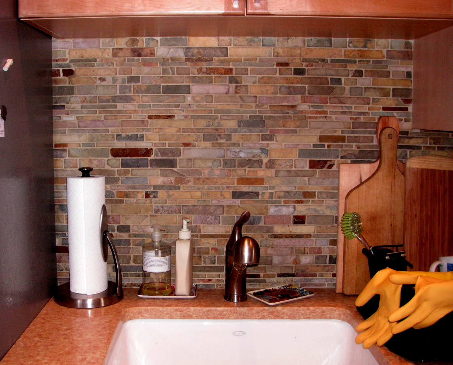 Colorful Slate Tile Backsplash for Kitchen