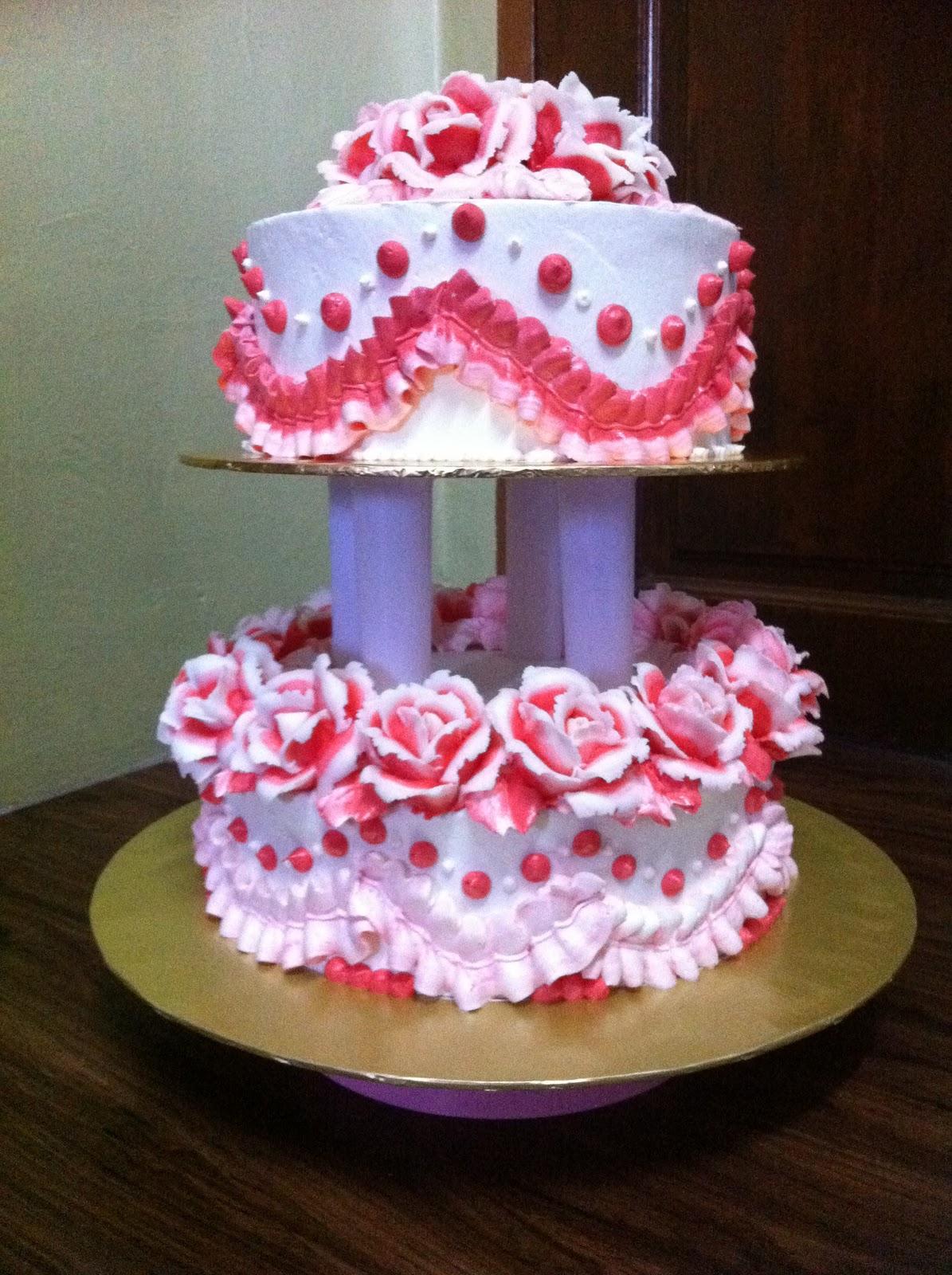 IreneBakelove2 2 Tier Red & White Theme Wedding Cake