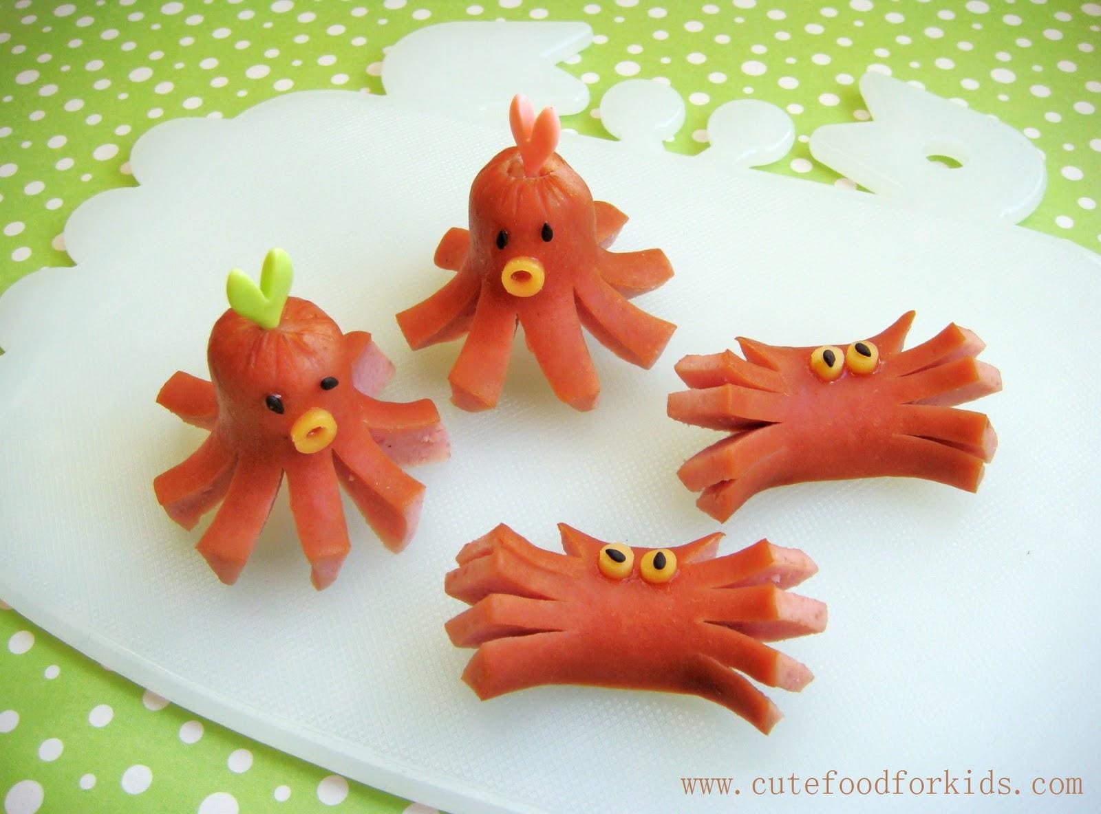 cute food for kids one wiener dog u003d 2 crabs 2 octopi