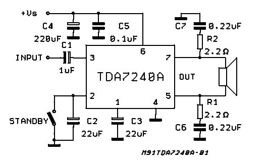 20w bridge amplifier for car radio used tda7240a