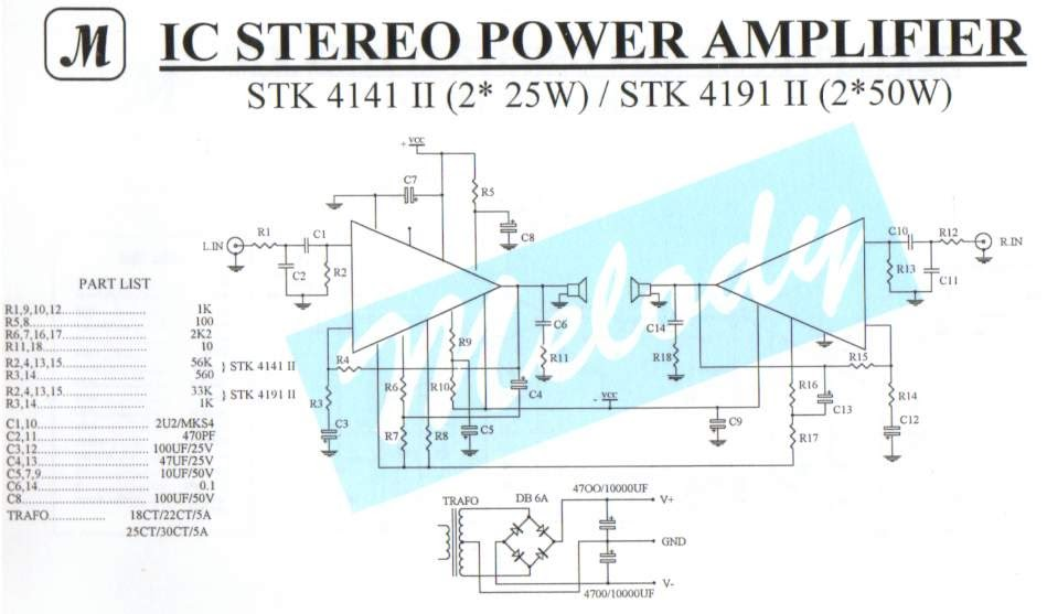 2 U00d725w Stereo Power Amplifier With Stk4141ii