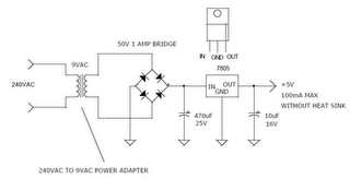 converter circuit 240v ac to 5vdc power supply used 7805 regulator DC Power Supply Wiring Diagram