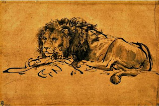 Rembrandt, A Lion Lying Down