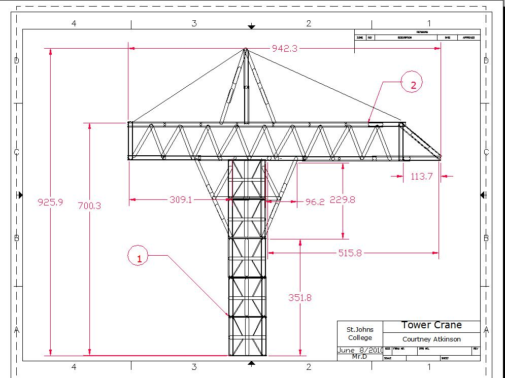 Tower Crane Design : Technological design tower crane final drawings