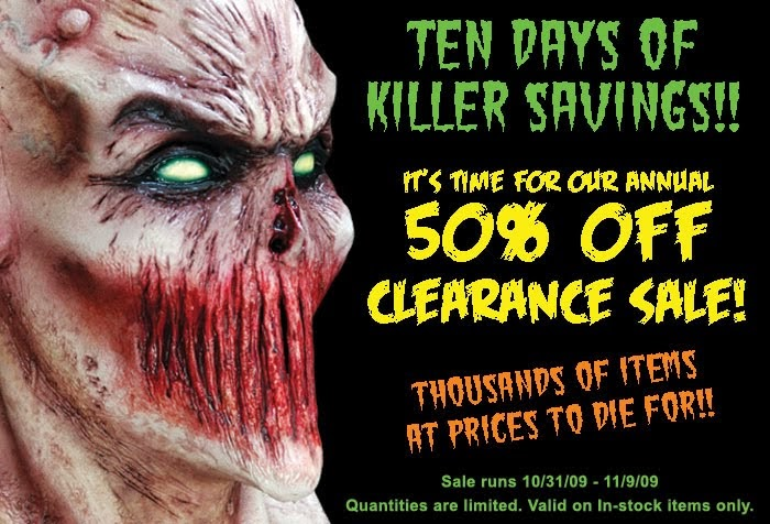 halloween asylum news 50 off clearance sale starts today