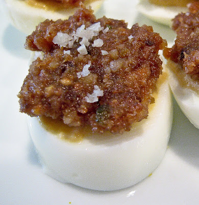 Haroset on Hard Boiled Eggs with Dijon and Sea Salt: a great use for a traditional Passover Condiment!