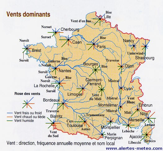CARNETS DE VOLS: LES VENTS DOMINANTS EN FRANCE