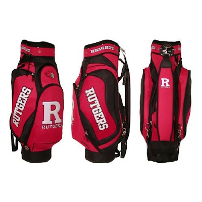 Rutgers University Scarlet Knights golf bag colored red, scarlet, and white.
