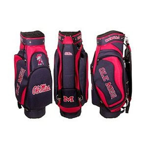 Ole Miss Rebels golf bag that is red and blue and built for golf carts.