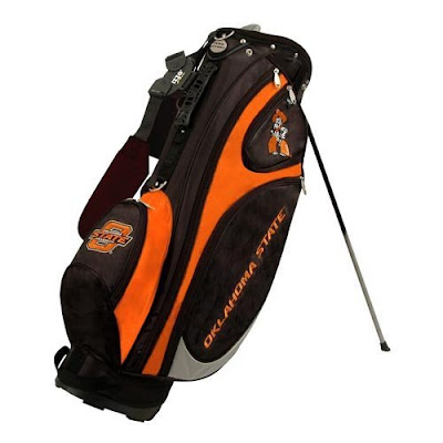 Oklahoma (OK) State University Cowboys golf bag colored in black and orange.