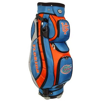 University of Florida Gators UF golf bag that is blue and orange and made specifically for use on a golf cart.