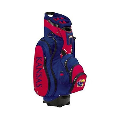 University of Kansas (KU) Jayhawks golf bag colored in red and blue.