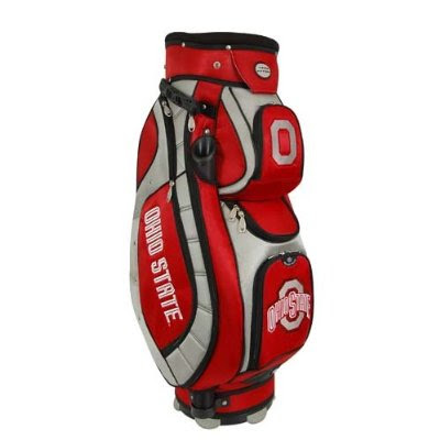 Ohio State University Buckeyes golf bag colored red and white.