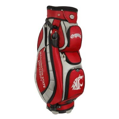 Washington State University (Wazzu) Cougars golf bag colored crimson, red, and gray.