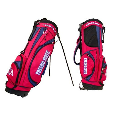 Fresno State University Bulldogs golf bag colored red, cardinal, blue, white, and black.