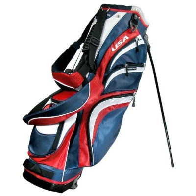 Louisiana Tech University Bulldogs golf bag colored red, blue, and white.