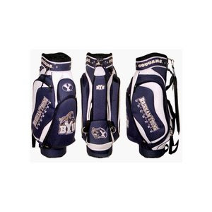 Brigham Young University (BYU) Cougars golf bag colored blue, tan, and white.
