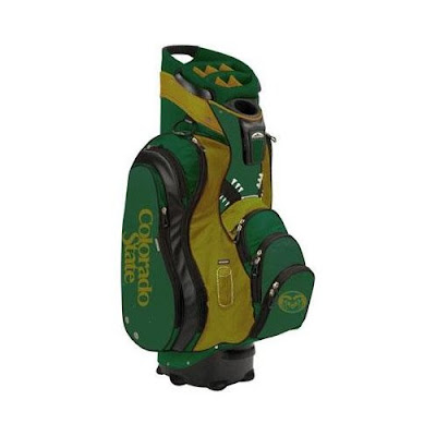 Colorado State University (CSU) Rams golf bag colored gold and green.