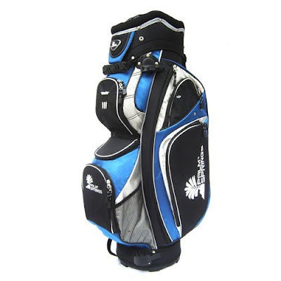 University of Tulsa (TU) colored golf bag that is blue, white, and black.