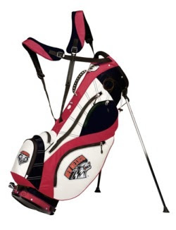 University of New Mexico Lobos golf bag colored white, silver, and red.
